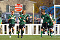 Daniel Keat (21) of the Dartmouth Big Green celebrates a goal with Walker Linares (3). Dartmouth defeated Monmouth 4-0 during the first round of the 2010 NCAA Division 1 Men's Soccer Championship on the Great Lawn of Monmouth University in West Long Branch, NJ, on November 18, 2010.