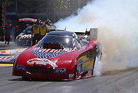 Mar 28, 2014; Las Vegas, NV, USA; NHRA funny car driver Gary Densham during qualifying for the Summitracing.com Nationals at The Strip at Las Vegas Motor Speedway. Mandatory Credit: Mark J. Rebilas-