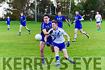 St Marys Captain Aidan Walsh is tackled by Renard's John Shannahan denying the visitors an opening score from inside the small square.
