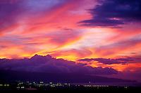 Kahului and Wailuku city lights at sunset, Maui
