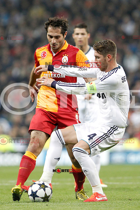 Real Madrid's Sergio Ramos and Galatasaray's Hamit Altintop during the quarter final Champion League match. April 3, 2013.(ALTERPHOTOS/Alconada)