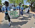 Catholic school girls participate in a procession through the streets of Juba on November 20 to pray for a peaceful January 2011 referendum on Southern Sudan's secession from the north of the country. The independence vote has widespread support throughout Southern Sudan, including among Catholics and other Christians.