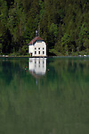 White lake side cottage.Lake Plansee near Reutte, Austrian Alps. Austria.