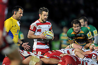 Greig Laidlaw of Gloucester Rugby looks to put the ball into a scrum. Aviva Premiership match, between Northampton Saints and Gloucester Rugby on November 27, 2015 at Franklin's Gardens in Northampton, England. Photo by: Patrick Khachfe / JMP