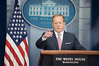 WASHINGTON, DC - MAY 12:  White House Press Secretary, Sean Spicer speaks  to reporters at the White House daily press briefing in Washington DC.  Topics included President Trump's upcoming foreign travel and questions about the former FBI Director , James Comey on May 12,2017. Credit: Patsy Lynch/MediaPunch