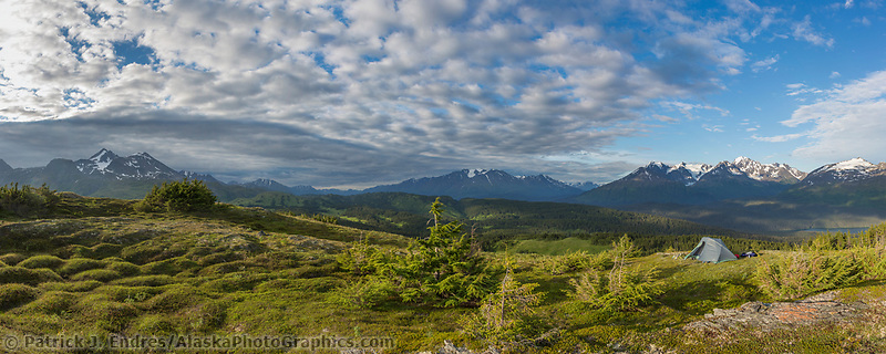 Panorama of tent camp near the Lost Lake Trail, Chugach National Forest, Seward, Alaska.