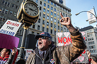 NEW YORK,NY October 29,2016. A A Donald Trump Supporter talks during a rally for Donald Trump outside of Trump Tower in Manhattan. October 29,2016. Photo by VIEWpress/Maite H. Mateo