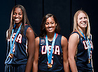 Aug. 25, 2011; (left to right) Devereaux Peters, Skylar Diggins, and Natalie Novosel wear their uniforms and gold medals from the 2011 World University Games gold medal-winning Team USA...Photo by Matt Cashore/University of Notre Dame