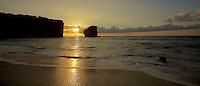 The sun sets behind Pu'u Pehe Rock (a.k.a. Sweetheart Rock) near Hulopo'e Bay, Lana'i.