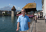 FC Luzern v St Johnstone...16.07.14  Europa League 2nd Round Qualifier<br /> Fans arrive in Lucerne... Gordon Bannerman pictured by the Kapell-Brucke bridge<br /> Picture by Graeme Hart.<br /> Copyright Perthshire Picture Agency<br /> Tel: 01738 623350  Mobile: 07990 594431