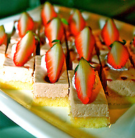Vanilla sponge slice cake stawberry mousse fresh bakery desserts food photo