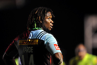 Marland Yarde of Harlequins looks on during a break in play. Aviva Premiership match, between Harlequins and Sale Sharks on November 6, 2015 at the Twickenham Stoop in London, England. Photo by: Patrick Khachfe / Onside Images