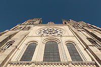 Looking up the Western facade of Chartres cathedral, a Gothic cathedral built 1194-1250, with a 105m plain pyramid spire built c. 1160, a 113m early 16th century spire on top of an older tower, and the Western rose window, made c. 1215 and 12m in diameter, , Eure-et-Loir, France. Chartres cathedral was declared a UNESCO World Heritage Site in 1979. Picture by Manuel Cohen
