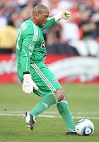 Zach Thornton #22 of Chivas USA kicks up field during an MLS match against D.C. United at RFK Stadium, on May 29 2010 in Washington DC. United won 3-2.