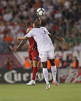USA forward Eddie Johnson (9) battles for a head ball. In the Send Off Series, the Czech Republic defeated the US men's national team, 4-2, at Rentschler Field in East Hartford, Connecticut, on May 25, 2010.