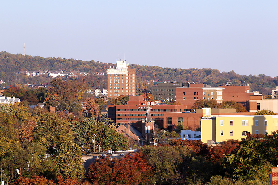 A skyline view of Downtown Charlottesville, VA. Photo/Andrew Shurtleff
