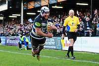 Leroy Houston of Bath Rugby dives for the try-line. Aviva Premiership match, between Bath Rugby and London Irish on March 5, 2016 at the Recreation Ground in Bath, England. Photo by: Patrick Khachfe / Onside Images