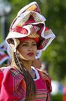 Woman wearing Jamaican national costume for cultural display at Governor General's Residence, Kings House, Kingston, Jamaica