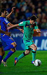 FC Barcelona's Lionel Messi in action during the Spanish league football match Levante UD vs FC Barcelona on April 14, 2012 at the Ciudad de Valencia Stadium in Valencia. (Photo by Xaume Olleros/Action Plus)