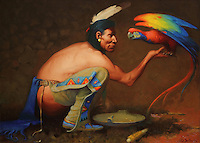 Medecine Bird, crouching Indian holding a macaw, painting, oil on canvas, c. 1944, by Gerard Curtis Delano, 1890-1972, in the Denver Art Museum, Denver, Colorado, USA. The macaw was considered a sacred bird, a 'bird of the sun', and only high ranking shamans could use it. Picture by Manuel Cohen