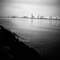 Newark Bay seen from the Bayonne, New Jersey shore. The docks of New York and New Jersey have for generations been synonymous with organised crime, with the Genovese family in control of the New Jersey waterfront and the Gambinos in control of the New York side.