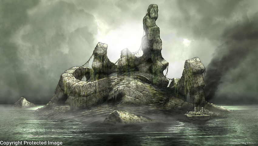 "From H.P. Lovecraft's story ""The Call of Cthulhu""… Cyclopean masonry emerges from the ocean depths."