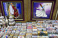 Traditional Turkish paintings hand-painted ceramics in The Grand Bazaar, Kapalicarsi, great market, Beyazi, Istanbul, Turkey