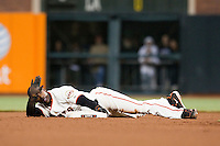 17 April 2009: San Francisco Giants' Fred Lewis lies down after being called safe on a steal attempt at second base in the seventh inning against Arizona Diamondbacks during the San Francisco Giants' 2-0 win against the Arizona Diamondbacks at AT&T Park in San Francisco, CA.