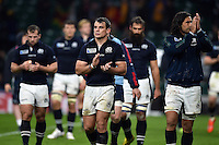 John Hardie of Scotland looks dejected after the match. Rugby World Cup Quarter Final between Australia and Scotland on October 18, 2015 at Twickenham Stadium in London, England. Photo by: Patrick Khachfe / Onside Images