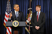 United States President Barack Obama (L) delivers remarks beside Richard Cordray (R) during a visit to the Consumer Financial Protection Bureau in Washington DC, USA, on 06 January 2012. Obama placed Richard Cordray as head of the Consumer Financial Protection Bureau with a recess appointment 04 January 2012. Republicans in the Senate had blocked Cordray's confirmation in December 2011..Credit: Michael Reynolds / Pool via CNP