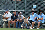 15 August 2014: UNC head coach Anson Dorrance (left) with (from left) assistant coach Bill Palladino, brother Pete Dorrance, former player Brittani Bartok, assistant coach Chris Ducar, assistant coach Jason Sisneros. The University of North Carolina Tar Heels hosted the University of Missouri Tigers at Fetzer Field in Chapel Hill, NC in a 2014 NCAA Division I Women's Soccer preseason match. Missouri won the exhibition 2-1.