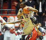 "Mississippi's LaDarius White (10) comes up with a rebound against Georgia's Donte' Williams (15) at the C.M. ""Tad"" Smith Coliseum on Saturday, February 16, 2013. Mississippi won 84-74 in overtime. (AP Photo/Oxford Eagle, Bruce Newman)"