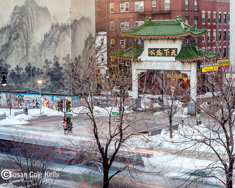 The Chinatown Gate in Boston, Massachusetts, USA