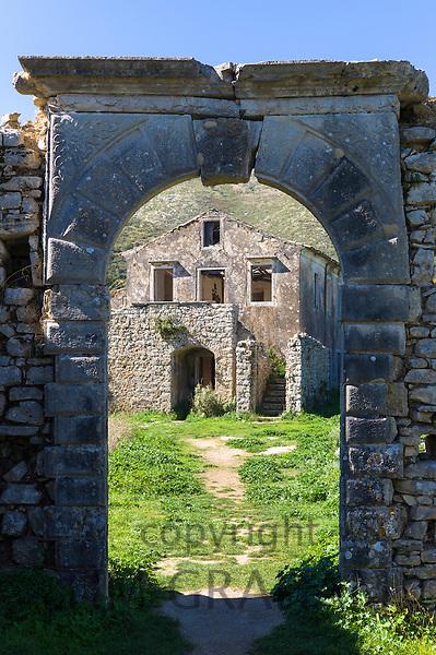 Skordilis Mansion house ruin in oldest village of Corfu - ancient Old Perithia - Palea Perithea, Greece