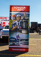 Nov 13, 2016; Pomona, CA, USA; Toyota signage of NHRA top fuel driver Antron Brown during the Auto Club Finals at Auto Club Raceway at Pomona. Mandatory Credit: Mark J. Rebilas-USA TODAY Sports