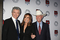 "LOS ANGELES - APR 12:  Patrick Duffy, Linda Gray, Larry Hagman arrives at Warner Brothers ""Television: Out of the Box"" Exhibit Launch at Paley Center for Media on April 12, 2012 in Beverly Hills, CA"