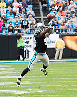 The Carolina Panthers played the New Orleans Saints for supremacy in the NFC South.  December 22, 2013 at Bank of America Stadium.  The Panthers scored the winning touchdown with 23 seconds left in the game to give them the opportunity to clinch the NFC South with a win next week.  Carolina Panthers cornerback Captain Munnerlyn (41) stretches trying to defend a pass.