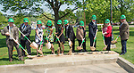 (Left to Right) Mike Battoclette, Dan Delawder, Linda Reed, Renee Middleton, Melissa Abban,m Roderick McDavis, Pam Benoit, Bryan Benchoff, Lynette Clouse and James Smith break ground for rennovations at McCracken Hall on Thursday, May 7, 2015. Photo by Ben Siegel/ Ohio University