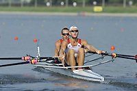 Brest, Belarus.  USA M2X. Bow. Andrew GALLAGHER and Erich HANXLEDEN, at the start.  2010. FISA U23 Championships. Thursday,  22/07/2010.  [Mandatory Credit Peter Spurrier/ Intersport Images]