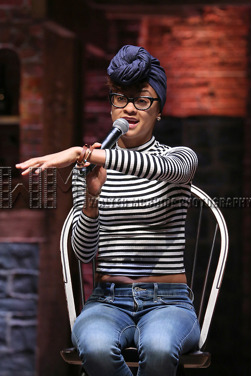 """Syndee Winters from the 'Hamilton' cast during a Q & A before The Rockefeller Foundation and The Gilder Lehrman Institute of American History sponsored High School student #EduHam matinee performance of """"Hamilton"""" at the Richard Rodgers Theatre on 5/10/2017 in New York City."""