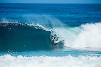 PIPELINE, Oahu, Hawaii (Sunday, December 8, 2013) Bruce Irons (HAW) - The opening day of the Billabong Pipe Masters, in Memory of Andy Irons, commenced today in firing six-to-eight foot (2 metre) waves and the world's best surfers put on an incredible display of technical barrel riding at Pipeline and Backdoor to complete Rounds 1 and 2. The Billabong Pipe Masters is the third and final leg of the Vans Triple Crown of Surfing.<br /> <br /> The final stop on the ASP World Championship Tour (WCT), the Billabong Pipe Masters will decide the 2013 ASP World Title Race, the coveted Vans Triple Crown of Surfing Champion and the final qualification slots for next season's Top 34. <br /> Gabriel Medina (BRA), 19, would put together an amazing show at the iconic lefts of Pipeline to kick off the Billabong Pipe Masters, navigating through a heavy barrel on his opening score to post a near-perfect 9.67. The Brazilian Prodigy would quickly back up the ride, earning an additional 9 point score for another deep Pipe tube punctuated with a massive alley-oop, eliminating Bruce Irons (HAW), 34. Medina's unlikely aerial at Pipeline puts him in the running for a 250,000 mile prize from   Hawaiian Airlines Airshow award.<br /> Sebastian Zietz (HAW), 25, defending Vans Triple Crown of Surfing Champion, immediately found his rhythm at Pipeline, earning the first perfect 10-point ride of Billabong Pipe Masters competition for an unbelievable Backdoor barrel.<br /> Photo: joliphotos.com