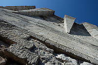 LES ANDELEYS, FRANCE - OCTOBER 10: View from below of the machicolations on the inner side of the keep of the Chateau Gaillard, on October 10, 2008 in Les Andelys, Normandy, France. The chateau was built by Richard the Lionheart in 1196, came under French control in 1204 following a siege in 1203. It was later destroyed by Henry IV in 1603 and classified as Monuments Historiques in 1852. (Photo by Manuel Cohen)
