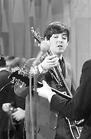 Paul McCartney, Beatles rehearse for Ed Sullivan Show, February 1964, New York. Photographer John G. Zimmerman. C1-17