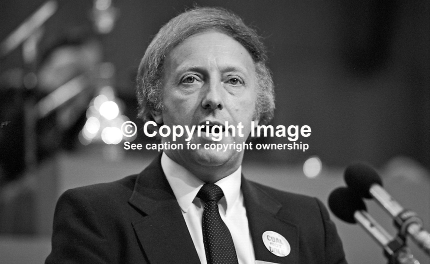 Arthur Scargill, president, National Union of Mineworkers, trade union, UK, speaking at Trades Union Congress annual conference 1984. 19840102AS8.<br /> <br /> Copyright Image from Victor Patterson, 54 Dorchester Park, Belfast, UK, BT9 6RJ<br /> <br /> t: +44 28 90661296<br /> m: +44 7802 353836<br /> vm: +44 20 88167153<br /> e1: victorpatterson@me.com<br /> e2: victorpatterson@gmail.com<br /> <br /> For my Terms and Conditions of Use go to www.victorpatterson.com