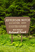 Jefferson Notch Road in Thompson and Meserves Purchase, New Hampshire USA during the spring months. This is the highest elevation reached by a public highway in New Hampshire