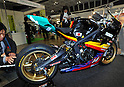 October 12, 2011, Yokohama, Japan - An electric motorcycle is shown during Electric Vehicle Development Technology Exhibition 2011 in Yokohama, south of Tokyo, on Wednesday, October 12, 2011. EVEX covers all EV-related processes from materials and design to completion. The trade show also provides rare opportunities to see and experience a trial ride the lates EVs. (Photo by Natsuki Sakai/AFLO) [3615] -mis-