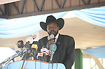 Salva Kiir, president of South Sudan, speaks at John Garang memorial park following the announcement of the interim results of the referendum on the south's independence.