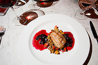 Cold water pickerel with beet root Pinot butter sauce, Cavena Nuda and roasted root vegetables, paired with Jackson Triggs 2008 Gold Series Puncheon Pinot Noir. January 14, 2012. © Allen McEachern.