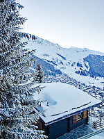 The chalet sits 1750 metres up the mountainside with spectacular views over Verbier and the surrounding snow-capped peaks