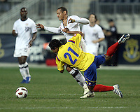 Jermaine Jones #15 of the USA MNT is blocked from the ball by John Javier Restrepo #21 of Colombia during an international friendly match at PPL Park, on October 12 2010 in Chester, PA. The game ended in a 0-0 tie.